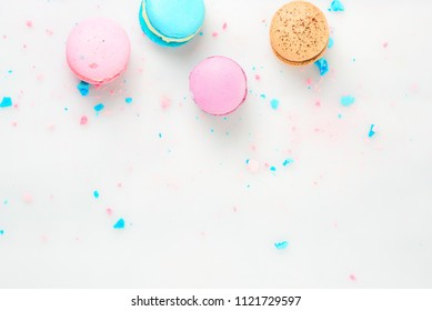 colorfull macarons on white background. flat lay .pink color and ment color macaroons.top view.copy paste