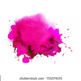 Colorfull magenta, pink watercolor spot. Stain with aquarelle paint blotch and splatter drops