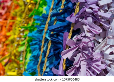 Colorfull Omikuji at Shinto shrine in Japan.Omikuji is fortune prediction.