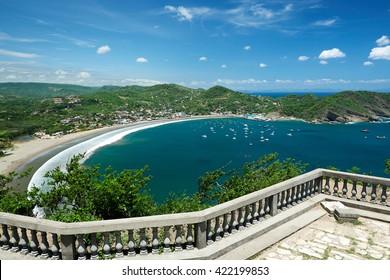 Colorfull panoramic view of bay san juan del sur