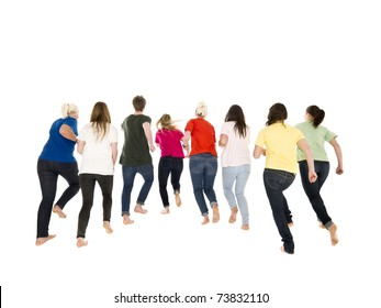 Colorfull people running on white background