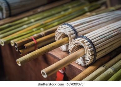 Colorfull umbrellas in traditional myanmar workshop