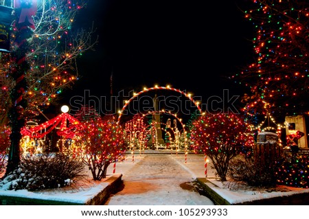 colorfully lighted village square christmas display in bedford ohio