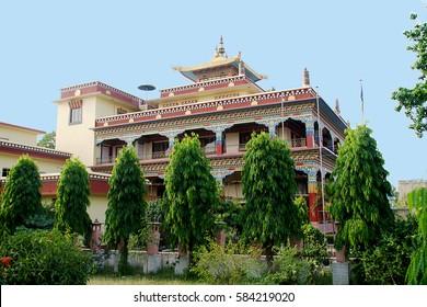 Colorfully painted Buddhist monastery at Bodhgaya in Bihar, India, Asia