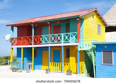 The colorfully painted house in Mexican resort town Mahahual.