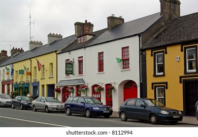 Colorfully Painted Storefronts on Main Street in Adare, Ireland
