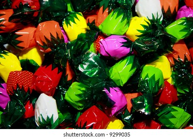 colorfully wrapped hard candies