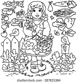Coloring book,  Cartoon farm animals, girl, vegetables, fruits and decoration elements for kid drawing