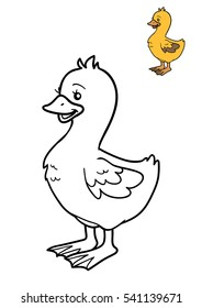 Coloring book for children, cartoon character, Goose