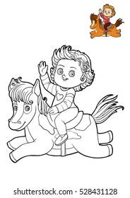 Coloring book for children, cartoon characters Girl and horse