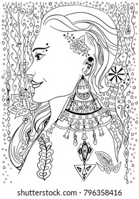 Coloring book page with beautiful girl.