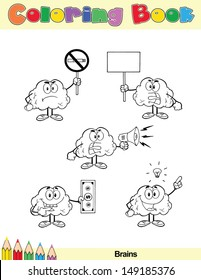 Coloring Book Page Brain Cartoon Character 7.