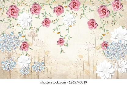 coloring flowers wallprint