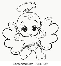 Coloring, happy angel baby with halo