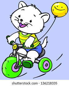 Coloring. kitten by bicycle