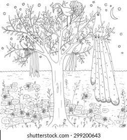 """Coloring page """"Birds"""". Hand drawn illustration."""