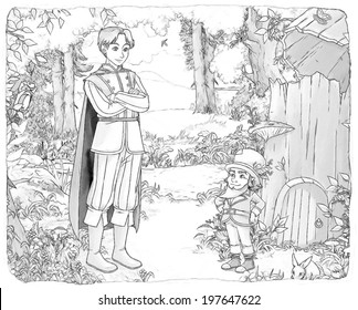 Coloring page - Cartoon fairy tale - illustration for the children