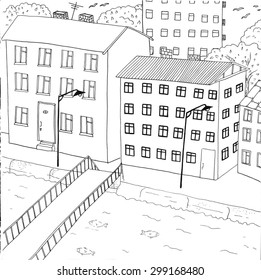 """Coloring page """"City canal"""". High detailed hand-drawn illustration."""