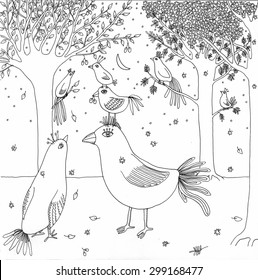"""Coloring page """"Fairy birds"""". High detailed hand-drawn illustration."""