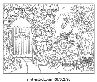 Winter Landscape And Frame Of Snowflakes On White In Zen Adult Coloring Book Style Hand Drawn Stylish Doodle Page The Garden With Pumpkins