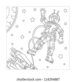 Engraving Astronaut Space Vintage Retro Style Stock Photo Photo