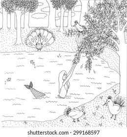 """Coloring page """"Mermaid"""". High detailed hand-drawn illustration."""