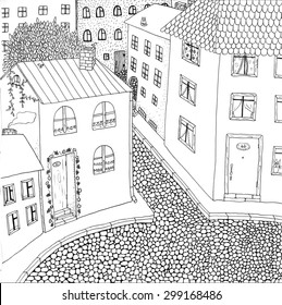 """Coloring page """"Old town"""". High detailed hand-drawn illustration."""