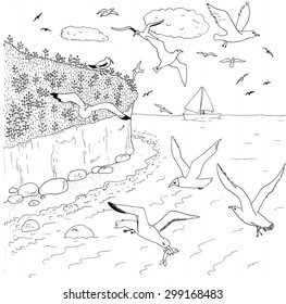 """Coloring page """"Seagulls"""". High detailed hand-drawn illustration."""