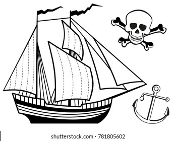 Coloring page with ship, anchor and human skull. illustration