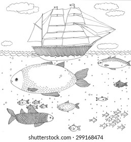 """Coloring page """"Ship"""". High detailed hand-drawn illustration."""
