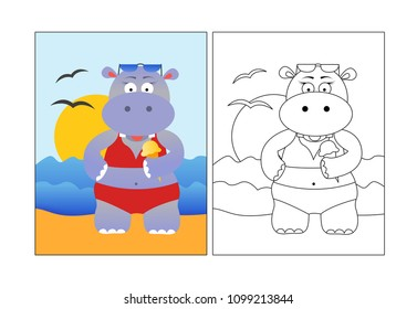 Coloring picture for kids, animal, summer hippo on a beach