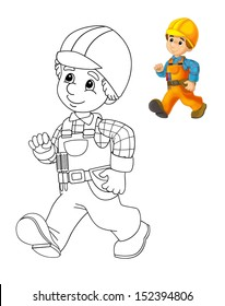 The coloring plate - construction worker - illustration for the children