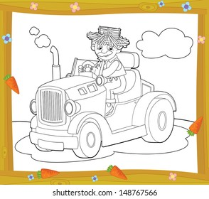 The coloring plate - farm vehicle - illustration for the children