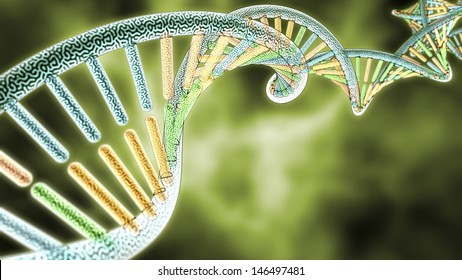 colorized DNA model on Green Biological styled background, 3D rendering with Depth of Field (DoF)