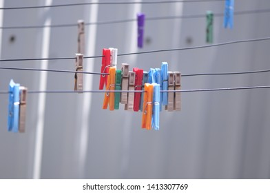 colors clothesline nature background fence