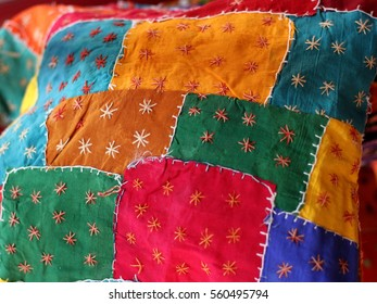 Colors fabric patches.  Hand made patchwork background.