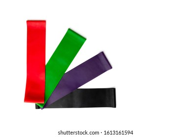 Colors fitness elastic band for sport isolated on white background.