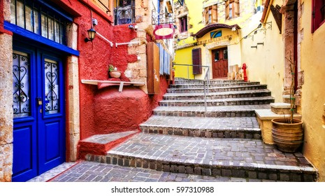 Colors of Greece series - vivid streets of old Chania town, Crete island