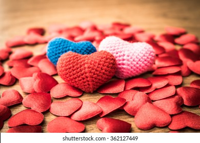 colors of heart on the wooden table