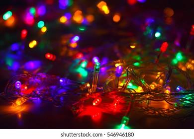 colors illuminated garland,  holiday background