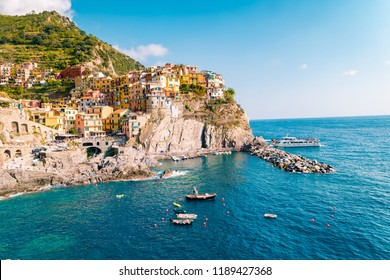 Colors of Italy -Manarola village , Cinque terre park Italy during summer day