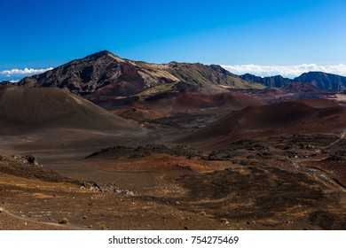 Colors of massive volcanic crater at Haleakala National Park on the island of Maui, Hawaii.