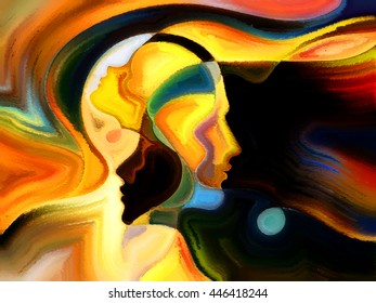 Colors of the Mind series. Artistic background made of elements of human face, and colorful abstract shapes for use with projects on mind, reason, thought, emotion and spirituality