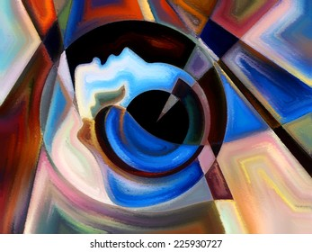 Colors of the Mind series. Backdrop design of elements of human face, and colorful abstract shapes to provide supporting composition for works on mind, reason, thought, emotion and spirituality