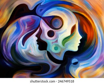 Colors of the Mind series. Backdrop of elements of human face, and colorful abstract shapes on the subject of mind, reason, thought, emotion and spirituality