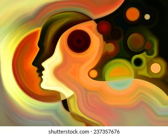 Colors of the Mind series. Composition of elements of human face, and colorful abstract shapes suitable as a backdrop for the projects on mind, reason, thought, emotion and spirituality