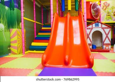 Colors Modern children playground indoor with slide