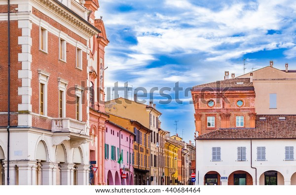colors of old buildings in a small town of Romagna, in Italy