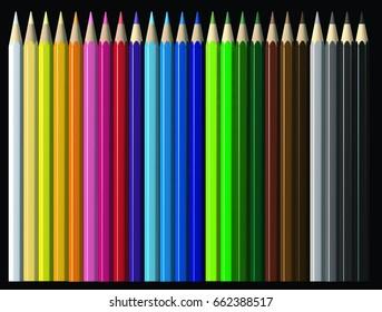 Colors pencils illustration 3d with Black background