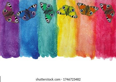 Colors of rainbow. Photo watercolor paper texture. Abstract watercolor background. Wet watercolor paper texture background. bright colorful peacock butterflies. multicolored watercolor stains.